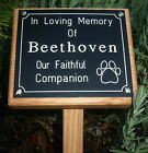 """14"""" Oak Wooden Memorial Grave Marker with Engraved Plaque Wood Stake Cat Dog Pet"""