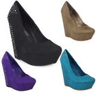NEW WOMENS LADIES DIAMANTE FAUX SUEDE HIGH PLATFORM WEDGE HEEL COURT SHOES SIZE