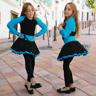 Girls Girl Childrens Kids Blue Black TuTu Mini Skirt Dress Up Irish Dance Party