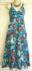 Gorgeous Monsoon Blue Red White Floral Summer Dress 10 12 14 16 18
