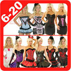 New Ladies Burlesque Corset Rockabilly Moulin Rouge Fancy Dress Costume Overbust