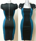 Color Block Illusion Galaxy Pencil Wiggle Dress Size 8 - 22  (Black & Teal) Z1