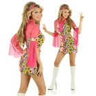 Adult Retro Party Girl 60s 70s Fancy Dress Costume Womens 1960s Decade Outfit