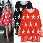 AnnaKastle New Womens Star Print with Rips Knit Sweater Top Blue Red sz S - M AU