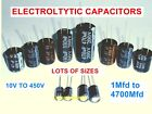 Capacitor Electrolytic Radial 105 Degree  Many Values and Types Multi Listing