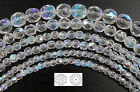 faceted glass beads - Czech Fire Polished Round Faceted Glass Beads, Crystal AB, clear Aurora Borealis