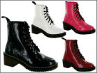 Was £29.99 LADIES/WOMEN/GIRLS ANKLE RETRO RIDING FUNKY PUNK WINTER LACEUP BOOTS
