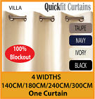 VILLA: SHANTUNG TEXTURED BLOCKOUT EYELET CURTAINS 100% BLACKOUT ROOM DARKENING