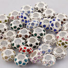 Wholesale Rhinestone Crystal 10mm Silver European Spacer Beads Bracelet Charms