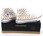 Studded Converse AllStar chuck taylor high top GOLD Spike Stud White shoes