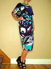 $1530 Escada Teal Purple Black White Print Stretch Knit Dress EU 42 US 8-10 NWT