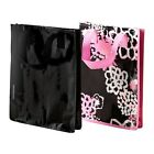 IKEA LINGO Reusable Shopping Grocery Storage Tote Bag Black & Pink Flower New