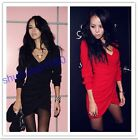 New Stylish Womens Long Sleeve V Neck Sexy Clubwear Slim Mini Dress 2 Colors