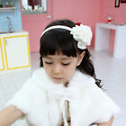 Girls Kids Gold Ivory Pink Rose Satin Alice band Party Dressy  Hair Accessories