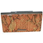 KENNETH COLE Clutch Wallet French Frame PYTHON PRINT GUNMETAL New BEIGE RUST $58