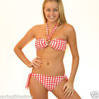 Victoria Red Gingham Padded Bandeau Bikini SEPARATES + Tie Bottoms - Swimsuit
