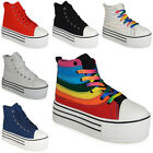 WOMENS LADIES ANKLE HIGH HI TOP LACE UP CANVAS FLAT TRAINERS PUMPS SHOES SIZ 3-8