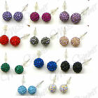 STERLING SILVER EARRINGS WITH POLYMER CLAY RHINESTONE BEADS SELECT COLOUR STUDS