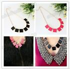 New Fashion Gold Plated Pink Black Enamel Geometry Square Choker Necklace