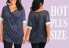 Sex Womens Plus Size Top Blouse With Dots Top Size 1XL-3XL Made In USA