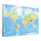 LARGE Canvas PHYSICAL World Map wall art reproduction prints photo poster giclee