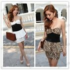 Stylish Ladies White Black Leopard Strapless Clubbing Cocktail Party Mini Dress