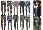Ladies Womens Glasses Floral Camouflage Photo Print Stretch Jersey Leggings 8-14