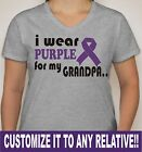"Customize Ladies V-Neck ""I Wear Purple for myGrandpa"" Pancreatic Cancer SM-2XL"