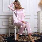 Womens Silk Pajamas PJS Sleepwear Set  S,M,L 6,8,10,12,14,16,18 Pants Black Red