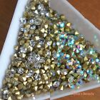 Clear & AB 1-8mm Crystal Glass Point Back Rhinestone Scrapbook Nail Art Craft