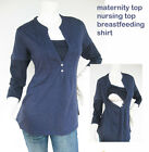 JENNY Maternity Clothing Nursing Tops Breast feeding Shirt Pregnancy NAVY New