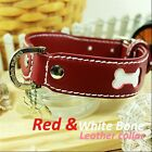 Luxury and Cute Dog Collar- Ruby Red&White Bone Genuine Leather Leash Durable