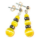 YELLOW CATS EYE Earrings & Black Swarovski Crystal Elements Sterling Silver