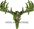 Lime Camo Deer Skull S4 Vinyl Sticker Decal Hunting whitetail trophy buck bow