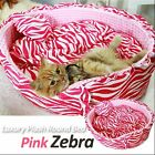 Luxury Pet Bed- Baby Pink Zebra Large Round Plush Cuddly Cute Bed for Dog/Cat