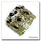 NEW VINTAGE BRONZE  RESIN CRYSTAL RHINESTONE FLOWER BRACELET BANGLE CUFF / BLACK