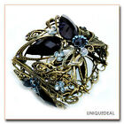 ANTIQUE-INSPIRED  BUTTERFLY BLACK CRYSTAL RHINESTONE FLOWER BRACELET BANGLE CUFF