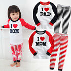 "2Pcs NWT Vaenait Baby Toddler Kid Girl Boy Sleepwear Pajama Set ""White Mom Dad"""