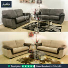 Lazar Fabric Black & Grey and Brown & Beige 3+2+1 Sofa Seater Settee 3 Piece