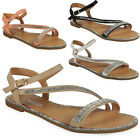 WOMENS GIRLS LADIES DIAMANTE BUCKLE ANKLE STRAPPY FLAT SUMMER SANDALS SHOES SIZE
