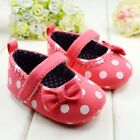 Baby Girl Lovely Polka Dot Bow Soft  Crib Shoes Newborn to 12 Months