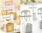 Wedding Favour Boxes / Place Card Holders | Gold / Silver with Ribbon & Heart