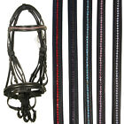 NEW BLACK BROWN RIDING SHOWING LEATHER FLASH SNAFFLE BRIDLE REINS PONY COB FULL