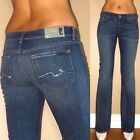 $198 Seven 7 For All Mankind Bootcut Jeans in Medium Wash Teal Crystal Pocket 27