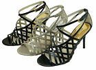 Michael Kors Womens Jessie Ankle Strap Black Silver Blue Stilettos Sandals Heels