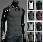 Mens Gym Basic Design Muscle Sleeveless Vest Tank Top Shirts (8 color, UK size)