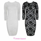 NEW LADIES FLORAL LACE BODYCON LONG SLEEVE PARTY DRESS 8-14