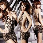 Sexy Strappy Backless Leopard Womens Nightdress G-string Lingeries Intimates 1Ms