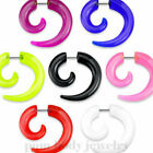PAIR 2GA FAKE Spiral Taper Solid Color Acrylic Ear Cheater Plugs (Choose color)