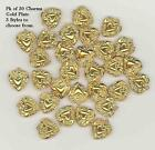 30 Gold Plated Brass Double-Sided Heart Charms or Pendants